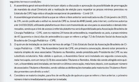 Assembleia Geral Extraordinária da CIPE acontece em 15 de janeiro. Confira edital!